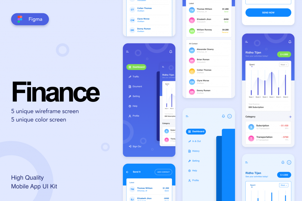 finance mobile wireframe